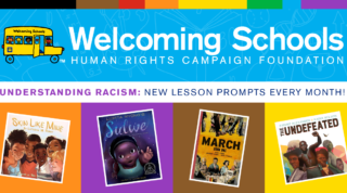 """Illustration with blue on top and text: """"Welcoming Schools, Understanding Racims: New Lesson Prompts Every Month!"""" and book covers covering the bottom of the illustration"""