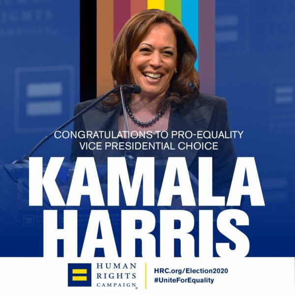 image share showing Kamala Harris in front of a More Color More Pride flag