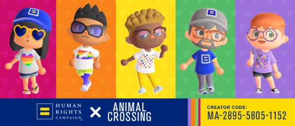 Animal crossing characters wearing HRC t-shirts. HRC + Animal Crossing. Creator Code: MA-2895-5805-1152