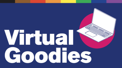 "Illustration of a laptop. Text reads ""Virtual Goodies"""