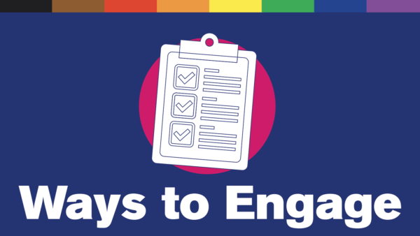 "Illustration of a clipboard. Text reads ""Ways to Engage"""