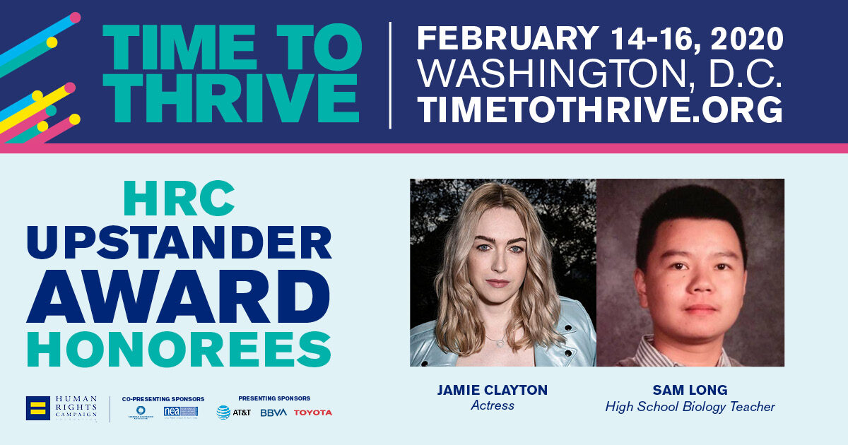 HRC to Honor Jamie Clayton, Sam Long at Time to THRIVE
