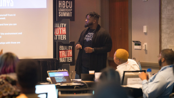 Professor Shawn J. Moore, MS, (Director of Student Leadership at Morehouse College) - facilitating Leading as a Mindful Rebel: Harnessing Your Potential for Social Change workshop at the 2018 National HBCU Leadership Summit.
